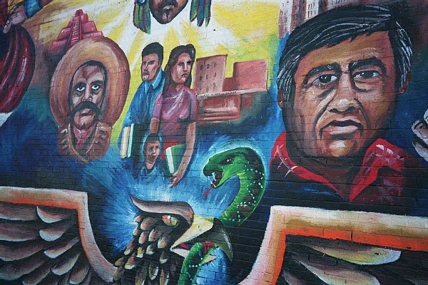 Open the curtains mural for Cesar chavez mural